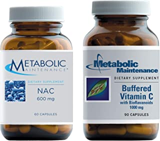 Metabolic Maintenance 2-Product Set with NAC - 600mg Pure N-Acetyl-L-Cysteine, Antioxidant Glutathione Support (60 Capsule...