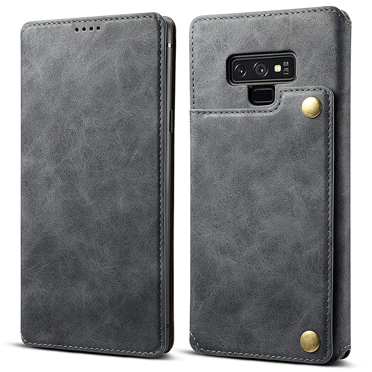 Galaxy Note 9 Wallet Case for Men [Ultra Thin Slim Fit] [Premium Vegan Leather] [Kickstand with Card Holder] Double Magnetic Clasp Flip Protective Cover for Samsung Galaxy Note 9 (Gray)