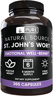 Sponsored Ad - Natural Source St. John's Wort, 365 Capsules, 6 Month Supply, No Magnesium or Rice Fillers, Made in USA & G...