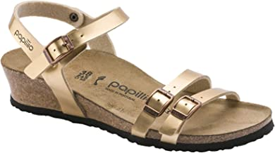 Papillio Della Leather Fabric Open-Back Slip-On Wedge Mules Womens Sandals