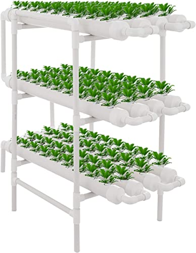 DreamJoy 3 Layers 108 Plant Sites Hydroponic Site Grow Kit 12 Pipes Hydroponic Growing System Water Culture Garden Pl...