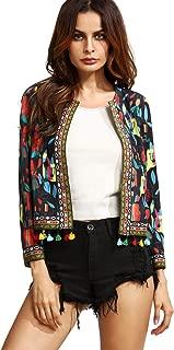 SheIn Women's Casual Long Sleeve Ethnic Cardigan Print Jacket Open Front Blazer