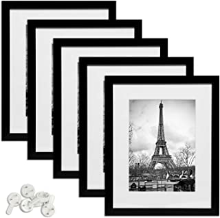 upsimples 11x14 Picture Frame Set of 5,Display Pictures 8x10 with Mat or 11x14 Without Mat,Multi Photo Frames Collage for Wall Display,Black