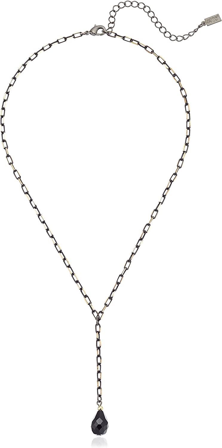 1928 Jewelry Mixed Gold-Tone and Black Chain Teardrop Y-Shaped Necklace, 16.5
