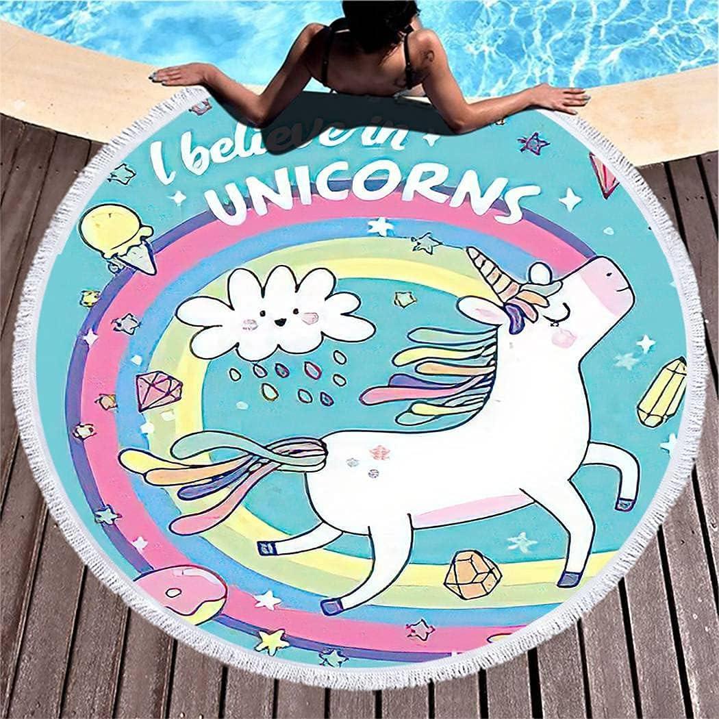 Max 40% OFF Light Daily bargain sale Weight Beach Towel Floral Fiber Rainbow Unicorn Superfine
