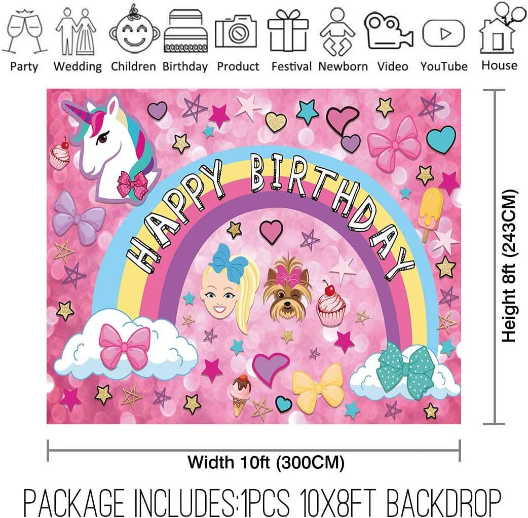 Allenjoy 8x8ft Colorful Cartoon Backdrop for Sweet 16 Happy 18 Dream Crazy Big Theme Bokeh Photography Background Birthday Party Banner Unicorn Puppy Girl Glitter Rainbow Baby Shower Photo Booth Decor
