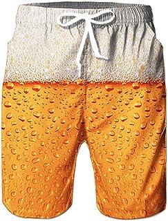 RAISEVERN Sommer Herren Lustig Print Surfing Hawaiian Shorts with Mesh-Futter Lässige Strandhosen Festival Urlaub Outfits