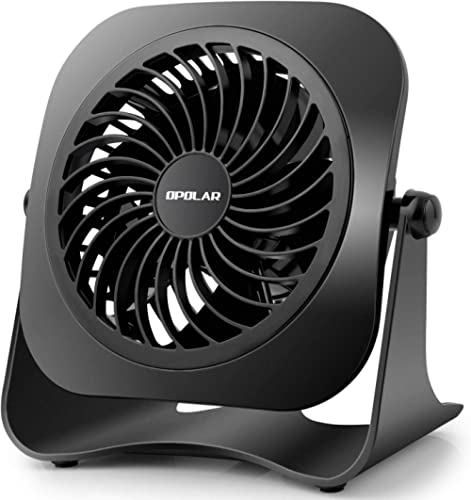 OPOLAR 4 Inch Mini USB Desk Fan, 2 Speeds, Lower Noise, USB Powered, 360° Up and Down, 3.8 ft Cable, Powerful Black F...