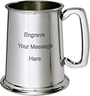 Wentworth Pewter - 1 Pint Pewter Tankard Customized Engraved Free - Boxed Wedding, Birthday, Retirement, Sports trophy, Dad Gift
