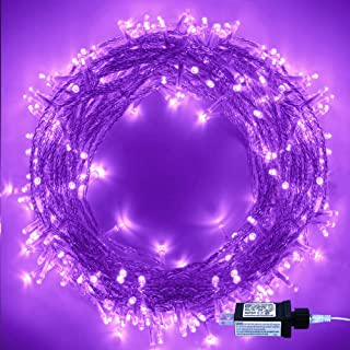 Halloween String Lights, 220 LED Indoor/Outdoor Waterproof 8 Modes 25m/82ft Fairy Twinkle Lights End-to-End Plug in, for Christmas Tree Garden Wedding Party Home Patio Lawn Decoration(Purple)