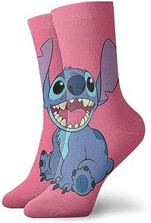 LREFON, Calcetines de compresión Li-lo S-titch Socks Crew Funny Casual Unisex Print Tobillo Calcetín Deportivo
