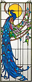 Stained Glass Panel -Peacock`s Sunset Stained Glass Window Hangings - Window Treatments