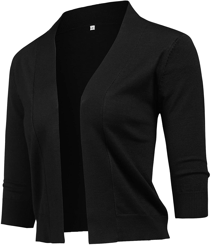 URRU Women's Classic 3/4 Sleeve Open Front Cropped Cardigan Sweater Lightweight Knit Short Shrugs