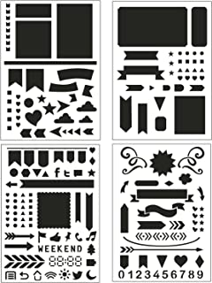 Bullet Journal Stencil Set 4 Pack - Banners, Dividers, Icons Fits Leuchtturm & Moleskine A5 Notebooks, Best Used with Huhuhero Fineliners & Sakura Micron Pens, 5 X 7 inches