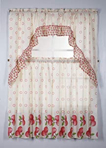 3PC Kitchen Window Curtain Set Printed Design,Set Includes 2 Tiers and 1 Valance Available in Multiple Designs (Apple)