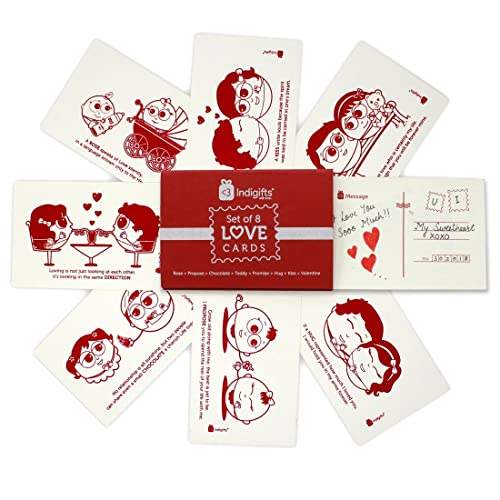 Indigifts Valentines Special Love Story Handmade Sheet Cute Message Postcard Set Of 8 4
