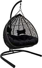 Duke Double Hanging Egg Chair-Charcoal Wicker with Black Cushion, Charcoal with Black Cushion - Egg Chairs - Bay Gallery F...