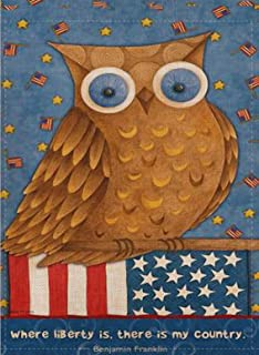 Selmad July 4th Patriotic Owl Garden Flag Liberty Double Sided Quote, USA Summer Burlap Decorative House Yard Decoration, Birds Braves American Seasonal Home Outdoor Vintage Décor 12 x 18 Spring