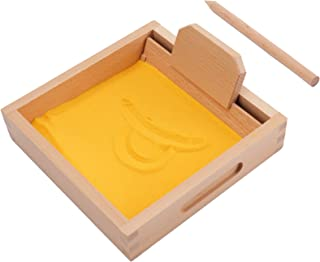 Suwimut Montessori Letter Formation Sand Tray with Wooden Pen Educational Toys for Kids, Alphabet and Number Learning Writ...