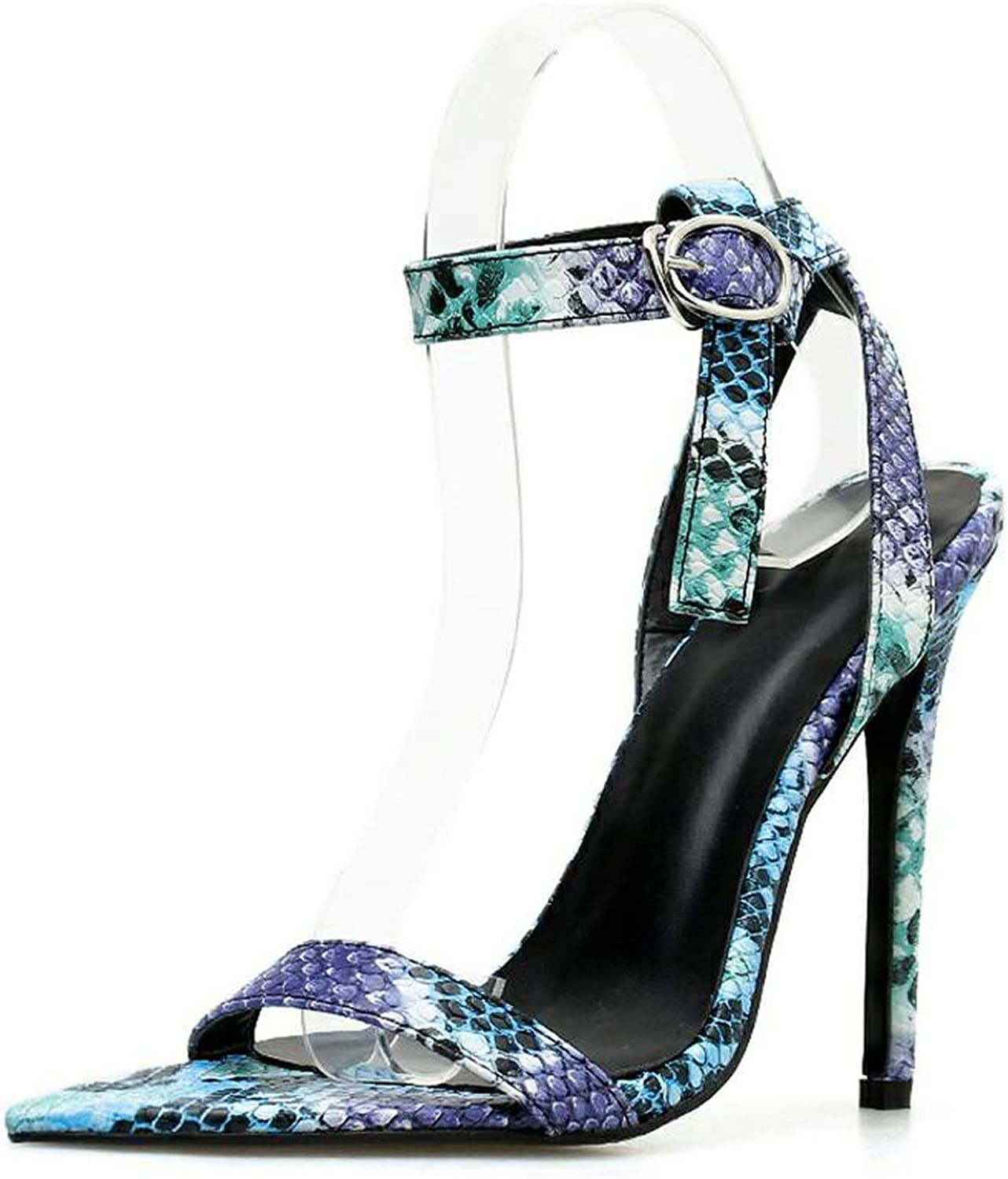 April With You Spring Autumn Women shoes Buckle Open-Toe Serpentine Thin High Heels Sexy Wedding bluee Size 35-40