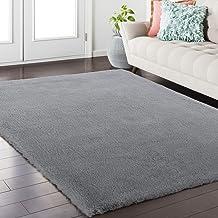 Softlife Fluffy Faux Fur Rug 4' x 6' Soft Area Rugs for Bedroom Girls Room Living Room Home Decor Floor Carpets, Grey Rect...