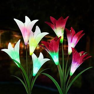 Sooair Lumière Solaire Extérieure, 2 pièces Fleurs de Lys Lampes Solaires Lampe Solaire Jardin pour de jardin Terrasse, La...