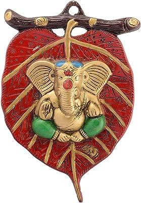eCraftIndia 'Holu Om' Up Art Painting (Synthetic Wood, 25 cm X 25 cm, Satin Matt Texture), Multicolour & Lord Ganesha White Metal Wall Hanging (15.24 cm X 1.27 cm X 22.86 cm) Combo