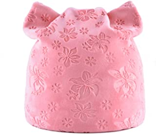 Gome-z Soft Warm Winter Hat For Women Cat Ears Skullies Beanie Hats with Ear Flaps Caps Ladies Flower printing Beanies TMDH07 PINK