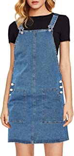 Women's Casual Straps Denim Overall Pinafore Dress with Pocket