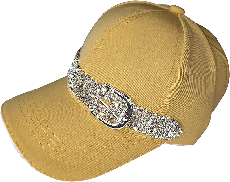 HappyERA New Upgrade Baseball Cap Sun Hats Casual Sport Cap with Bling Rhinestone Decor