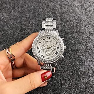 Watch Men's/Women's Watches Starry High-Grade Alloy Quartz Watch Full Diamond Roman Scale Watch, Fashion Watch (Color : Silver)