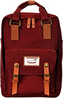 EXCPDT 14'' Waterproof Vintage College Backpack Laptop Backpack Light Weight Travel Backpack Carry on Bag for Women, Student, Fits up to 13.3 inches Laptop (Wine Red)