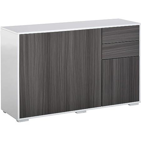 HOMCOM Commode Buffet de Rangement 2 tiroirs coulissants 3 Portes étagère réglable Panneaux de Particules 117 x 36 x 74 cm Gris