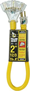 Yellow Jacket 2882 12/3 2-Feet 15-Amp Heavy-Duty SJTW Contractor Extension Cord with Lighted Power Block