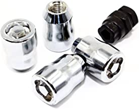 Set of 4 Veritek 12x1.5mm 1.40 Inch Puzzle Socket Style Factory Replacement Chrome Wheel Locks 19mm 21mm Socket Key for Factory Wheels
