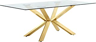 Meridian Furniture Capri Collection Modern Rectangular Dining Room Table with Rich Gold Stainless Steel Contemporary Style Base and Glass Top, 78