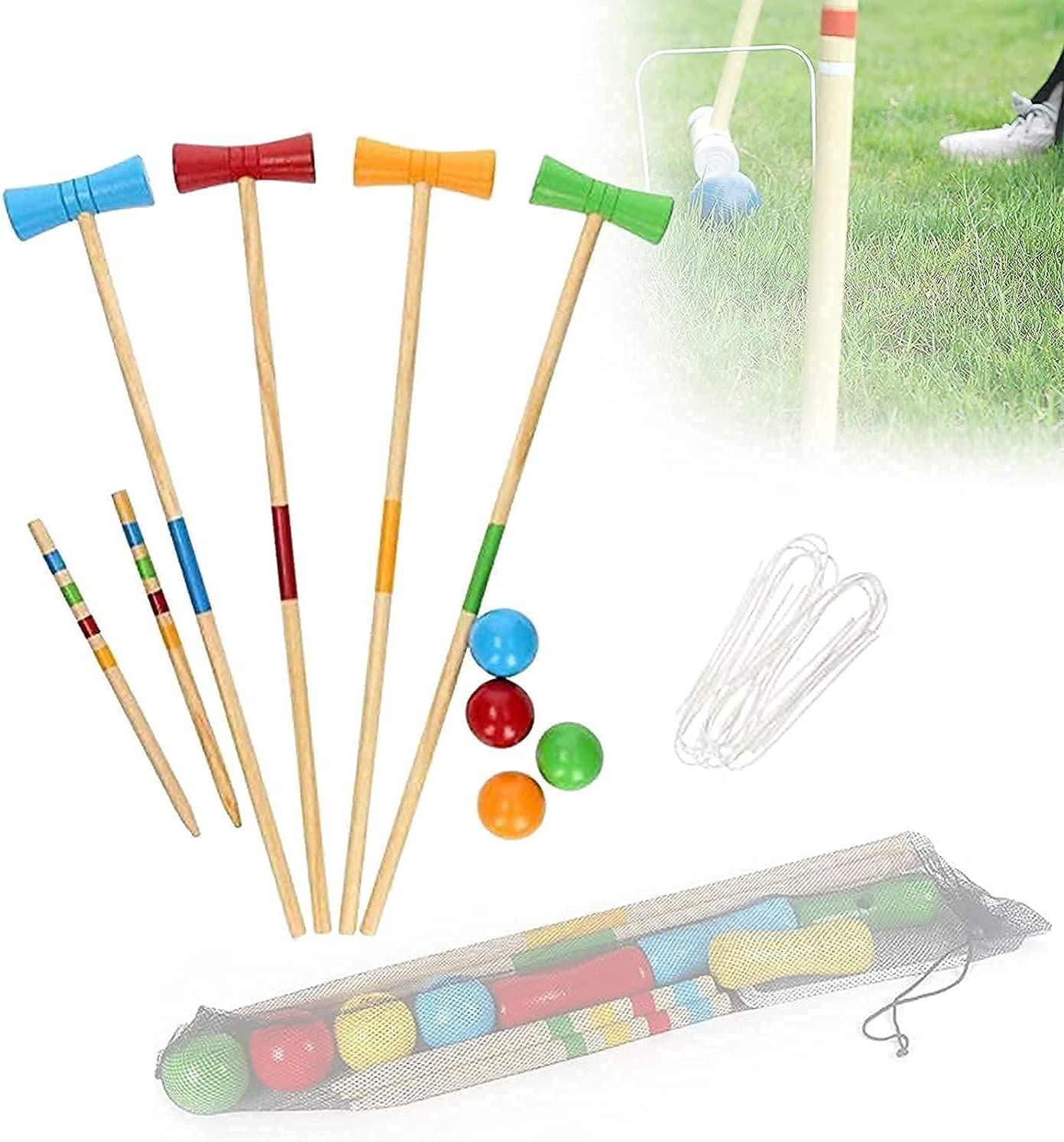 SZDYQ Wooden Garden Our shop most popular Chicago Mall Croquet Set Net for Kids Sets with