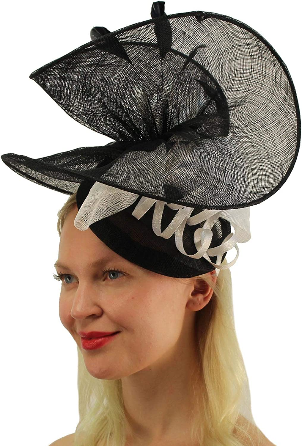SOMETHING SPECIAL Fancy Sinamay Feathers Fascinators Headband Bridal Cocktail Derby Cap Hat