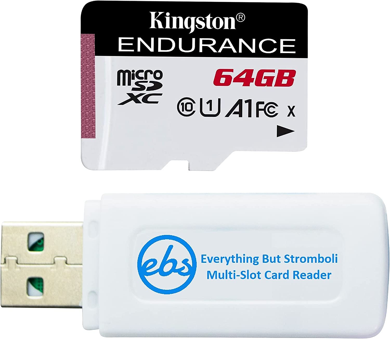 Kingston 64GB MicroSD High Endurance Memory Card for Dash Cam Works with Garmin Mini 2, Mini, 67W, 66W, 47, 56, 57 Car Camera (SDCE/64GB) Bundle with Everything But Stromboli SD & Micro SD Card Reader