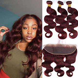 Brazilian Human Hair Burgundy 3 Bundles with 13X4 Lace Frontal Body Wave #99J Wine Red Frontal with Baby Hair Ear to Ear Frontal (14 16 18 with 14F, Burgundy)