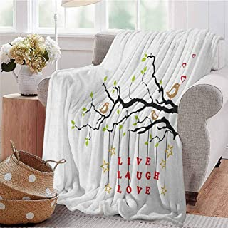 Live Laugh Love Commercial Grade Printed Blanket Couple of Birds in Love Sitting on a Branch with an Inspirational Quote Queen King W70 x L70 Inch Multicolor