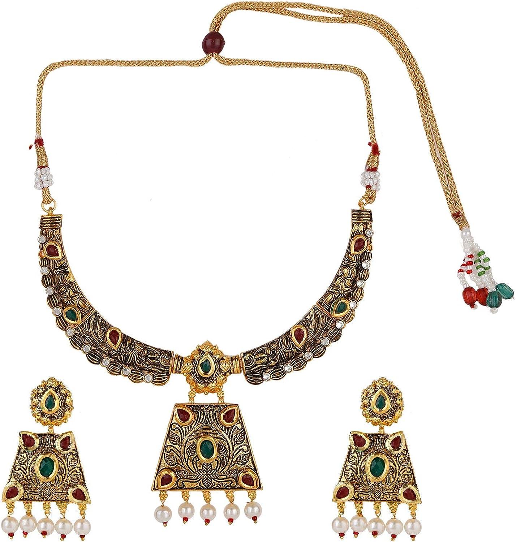 Efulgenz Indian Boho Vintage Antique Oxidized Gold Tone Kundan Stones Necklace Earring Jewelry Set