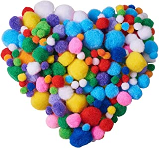 PandaHall Elite About 550 Pcs Assorted Pompoms Multicolor Arts and Crafts Fuzzy Pom Poms Balls Diameter 10mm 20mm 30mm for DIY Doll Creative Crafts Decorations