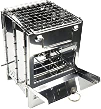 THATA Houtskooloven, verstelbare roestvrijstalen grill, vierkante oven, opvouwbare grill, mini-houtskooloven voor picknic...