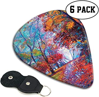 Guitar Picks 6 pcs,Colorful Fairy Paint Of Park In Fall View Of The Earth In Oil Painting Style Print