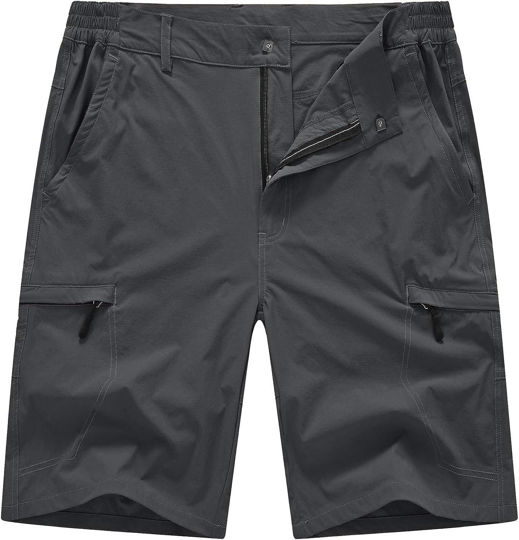 BASUDAM Men's Cargo Hiking Shorts Stretch Quick Dry Lightweight