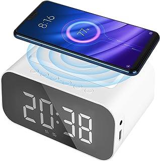 Achort LED Smart Väckarklocka med Bluetooth-högtalare, Trådlös Laddning Digital Väckarklocka, Spegel-LED-skärm med USB-por...