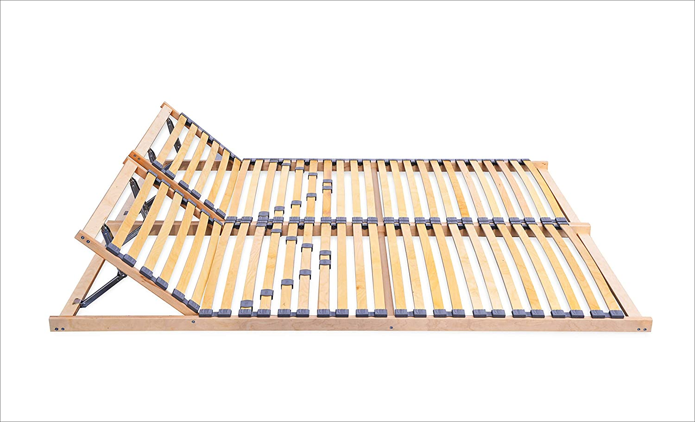 Somier de láminas ECOFORM con cabezal ajustable y dureza de 120/140/160/180/200 x 200 cm, marco de madera con muelle de 140 x 200 cm