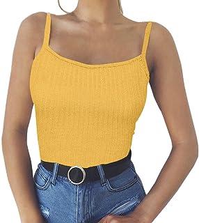 Darringls Tank Top para Mujer,Camiseta Sexy Crop Top Mujer Chaleco Halter Camisola Blusa Camiseta sin Mangas Ropa Verano Casual para Chicas