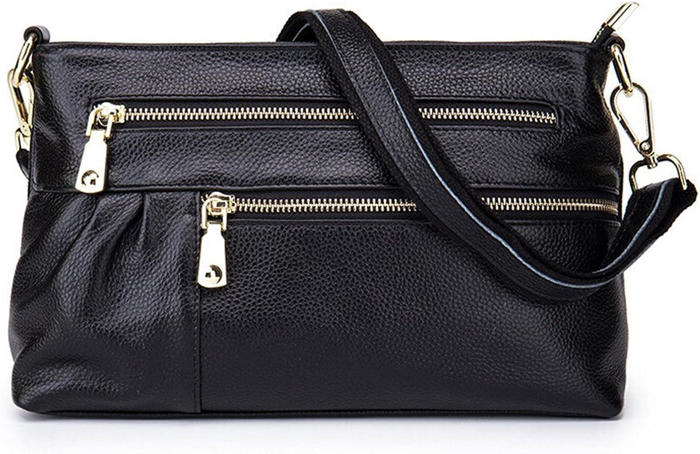 SEALINF Women's Leather Handbag Cowhide Shoulder Bag Zipper Closure Crossbody